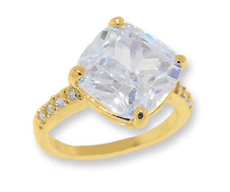 Classic Wholesale White Cubic Zirconia Ring Yellow Gold