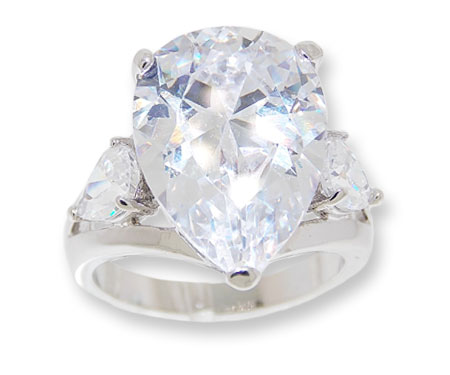 Pear shaped CZ Ring Clear White