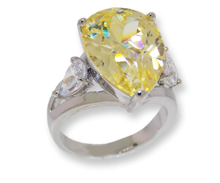 Pear shaped CZ Ring Canary Yellow