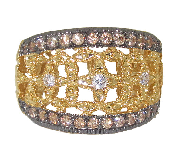 Gold tone wholesale ring with clear white & champagne