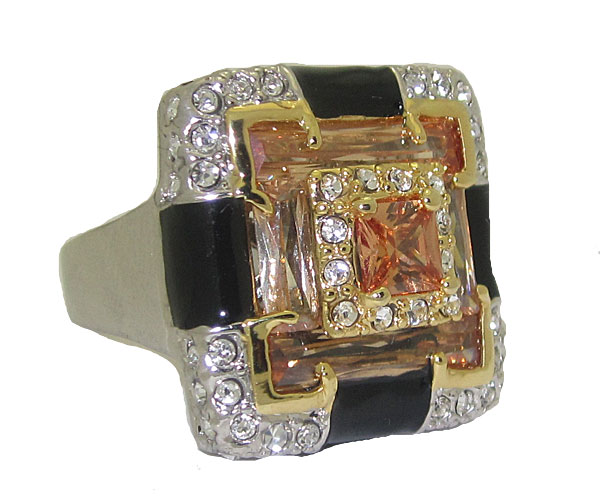 Enamel Ring with Cubic Zirconia's White Gold wholesale jewelry