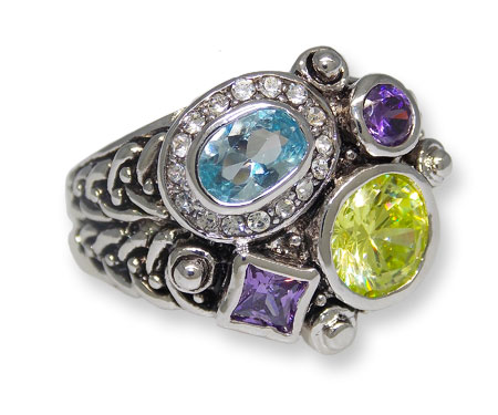 One+tone+antiqued+silver%2C+cluster+of+Amethyst%2C+Blue+