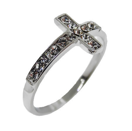 One Tone Silver, White Crystals cross ring