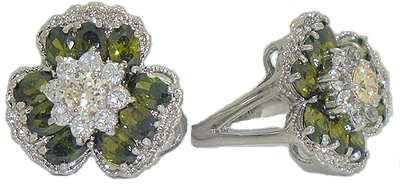 Olive Austrian Crystal Stones Flower Ring