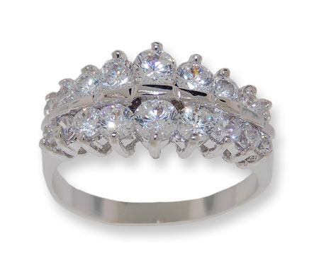 White CZ classic wholesale ring