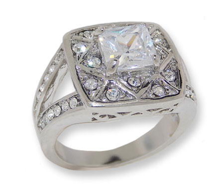 Silver Tone White Cubic Zirconia & Crystal Wholesale Ring
