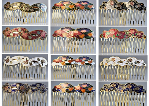 Genuine+Cloisonne+Hair+Combs+Set