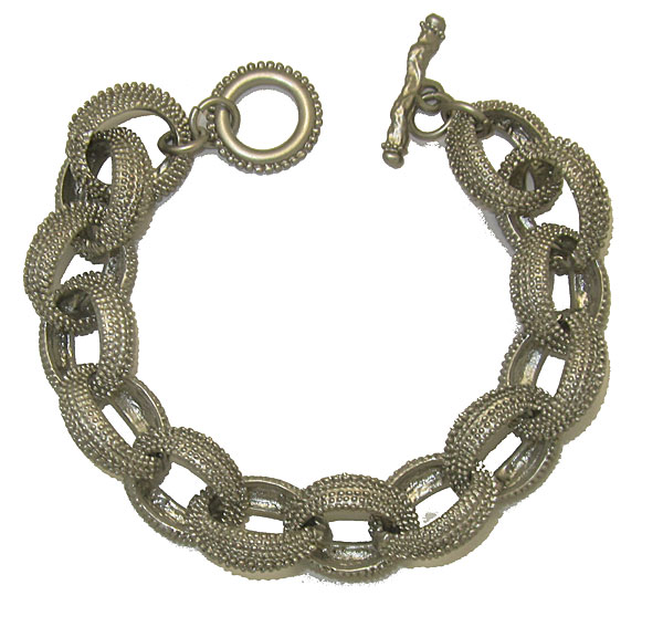 Silver textured chain link bracelet with toggle closure