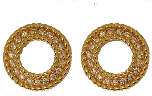Gold Circle Earring in Crystal with omega clip