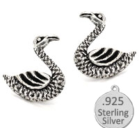 925 Sterling Silver Swan Earrings