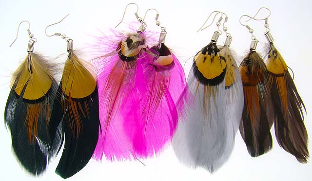 Single Feather Earrings With Accent
