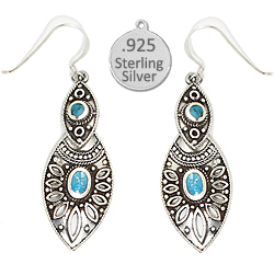 Silver Genuine Turquoise Stone Earrings Southwest Styling
