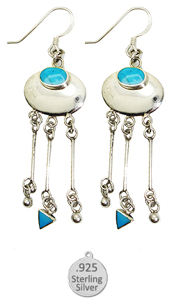 Sterling Silver & Genuine Turquoise Stone Earrings