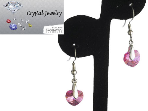 Swarovski Austrian crystal Rose Pink Crystal earrings with pouch White