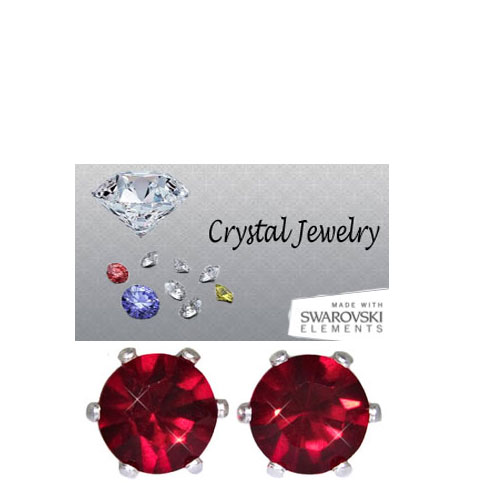 Ruby 2 Carat Swarovski Stone Red Stud Earrings white gold