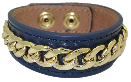 Leather Bracelet with Chain accent Blue