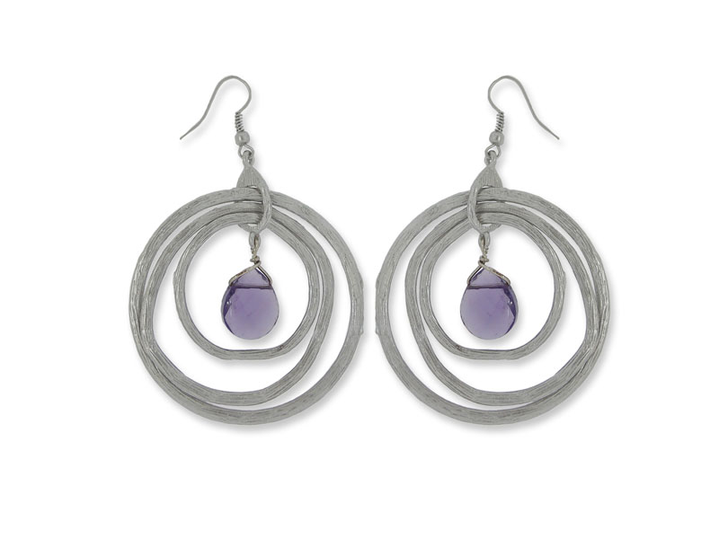Amethyst glass bead earrings with fish hook posts