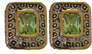 Peridot Cz Designer Earrings Accented 18 KT Gold