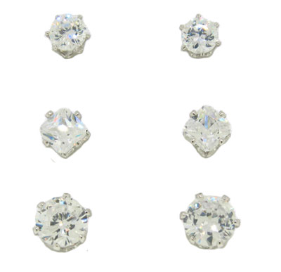 3 Wholesale Stud Earring Set on Card white gold