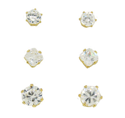 3 Cz Wholesale Stud Earring Set on Card yellow gold