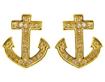 Yellow Gold Anchor & Crystal Stud Earrings