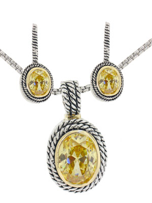 Double Cable 2 pcs Set Earring / Necklace Yellow
