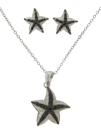 2 Pcs Pave Star Fish Earring & Necklace Set