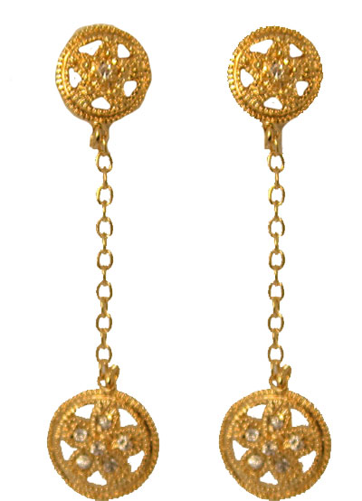 Drop Wholesale Earring accented in Cz's set in gold plate.