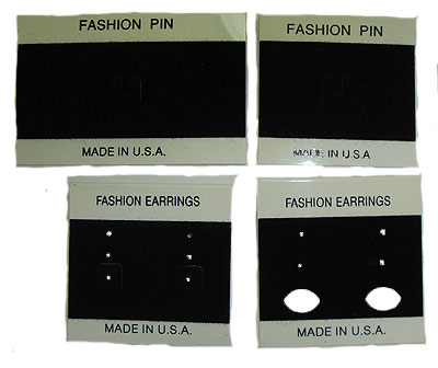 100 Fashion Pin & Earring Cards Wholesale Made in USA