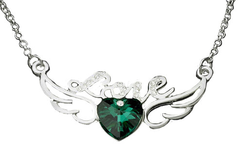 Crystal Ruby Love with wing necklaces Emerald Green