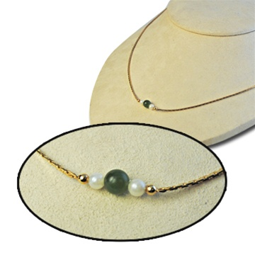 Green Jade and 12 karat Gold Filled Necklace