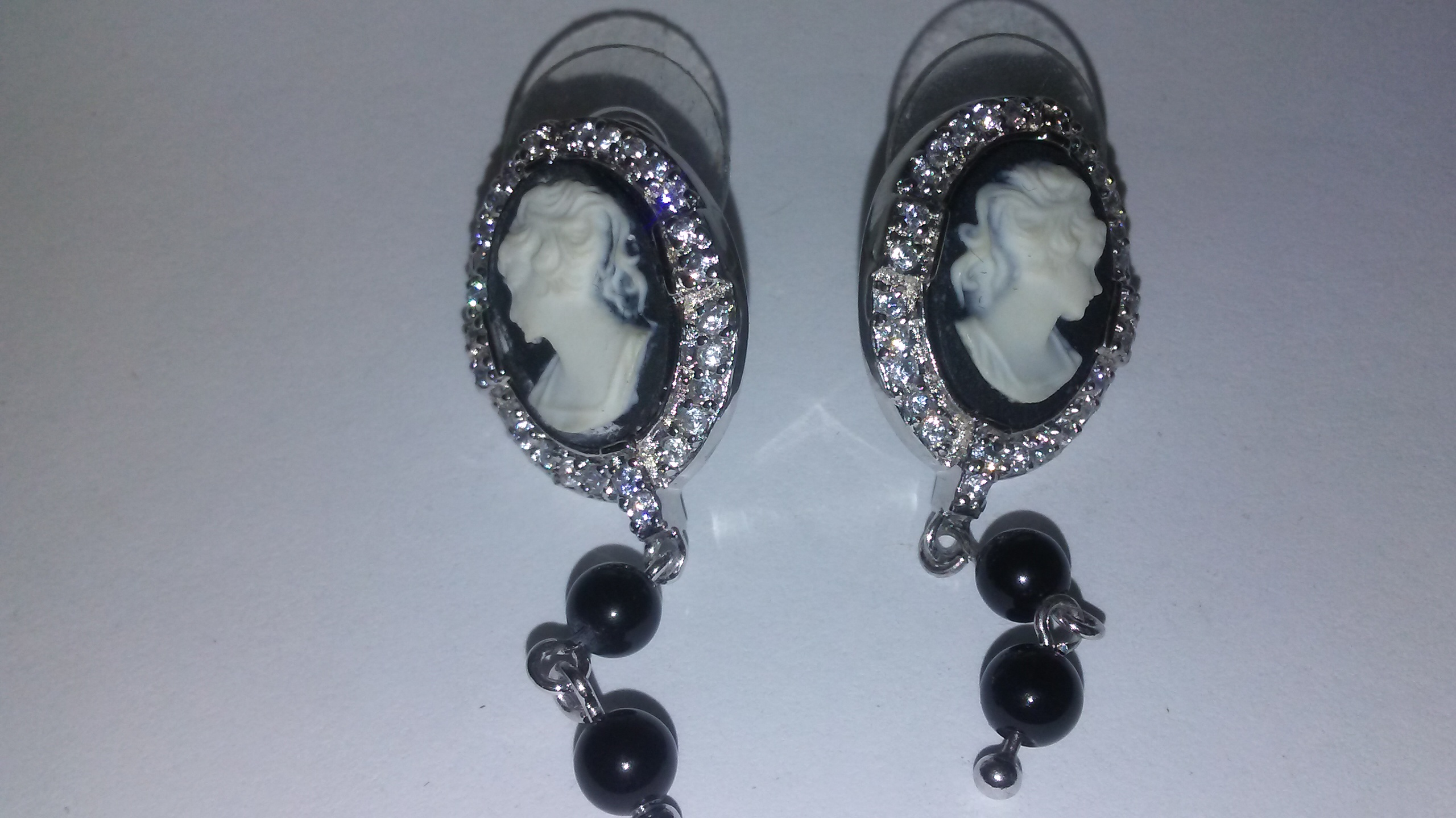 Cameo and Cubic Zirconia Sterling Silver Earrings