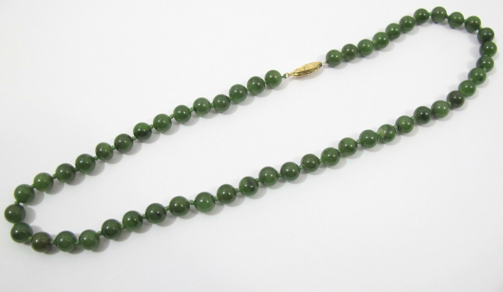 Hand Knotted Green Jade Round Bead Necklace