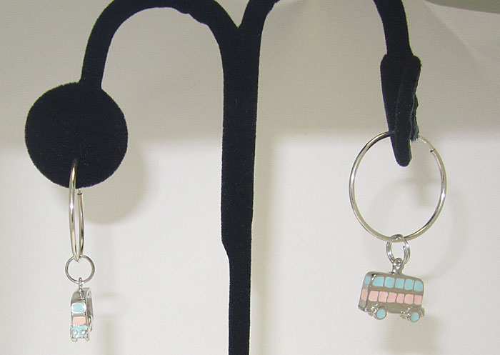 925 Sterling Silver Hand Enameled Bus Earring