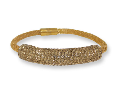 Steel Gold mesh with Light Colorado Topaz Crystals