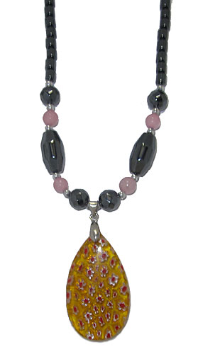 Semi Precious Stone Necklace in Hematite