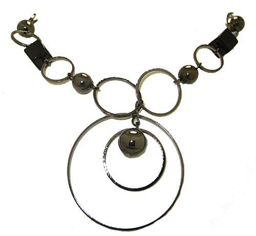 12 Circle & Black Squares Necklace Closeout
