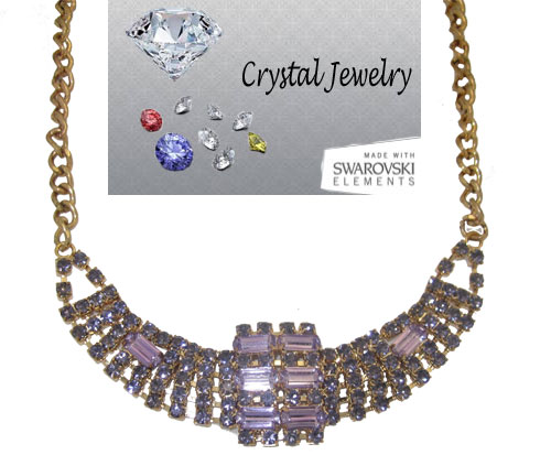 Purple Crystal Wholesale Necklace set in Gold