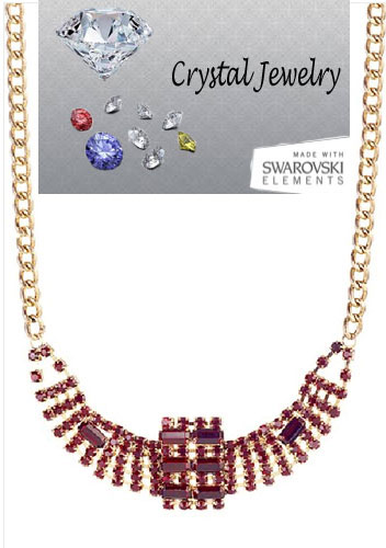 Crystal Ruby Necklace set in Gold