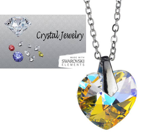 Swarovski Austrian crystal Aurora Borealis necklace with pouch White