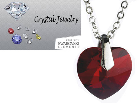 Swarovski Austrian crystal Ruby Red necklace with pouch