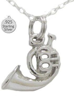 Sterling Silver French Horn Pendant & Chain