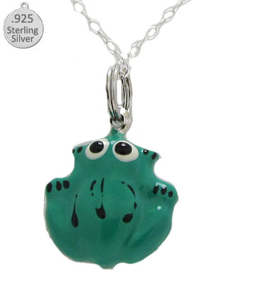 Sterling Silver Green Frog Pendant & Chain