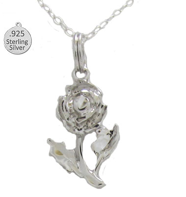 Sterling Silver Rose Pendant & Chain
