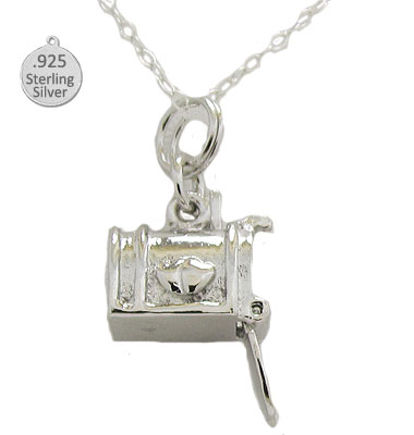 Sterling Silver Mail Box Pendant & Chain