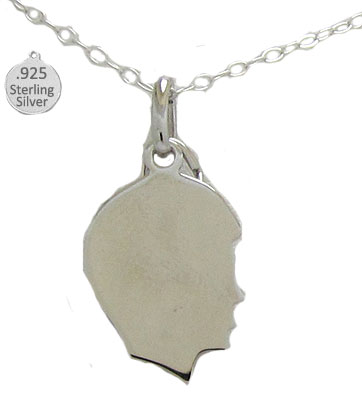 925 Sterling Silver Boy Silhouette Pendant & Chain