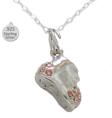 Necklacae Silver Pink Baby Shoe Wholesale Pendant & Chain