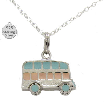 Silver Hand Enameled Bus Pendant & Chain