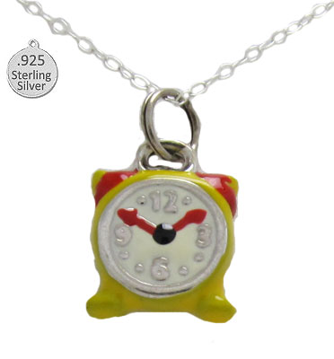 Silver Enameled Alarm Clock Wholesa Pendant & Chain