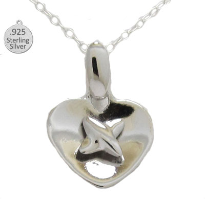 Sterling Silver Heart & Cross Wholesale Pendant & Chain